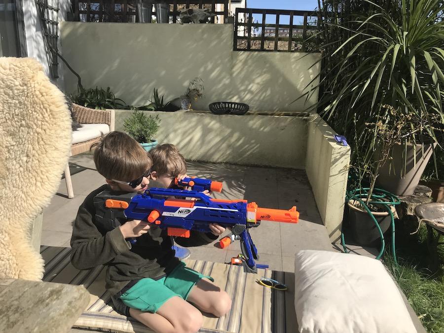 Matts kids with Nerd Guns